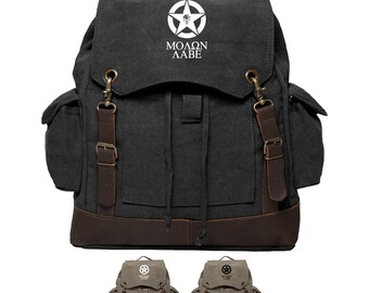 Molon Labe Rucksack, Canvas Backpack, The Punisher, Military Gifts 186a067ef5