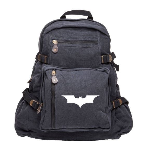The Dark Knight Canvas Backpack Batman Travel Bag Camping  04f9ba26a3527