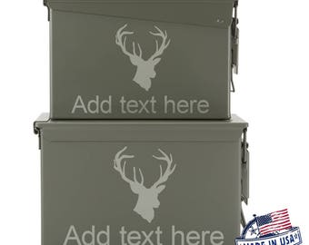 Fathers day antlers etsy hunting deer buck antlers personalized ammo box mens guy gifts negle Images