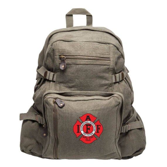 Hiking Gift Retirement Gift IAFF Fire Fighters Canvas Backpack Fire Emblem Laptop Bag