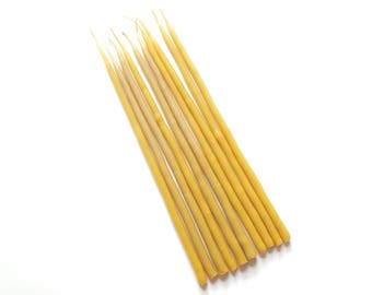 Birthday Beeswax Candles - Cake Decoration - Tall Beeswax Candles - Smokeless and Dripless Candle - Non-Toxic- Pure & Natural - Hand Dipped