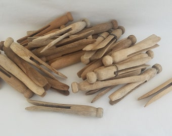 Lot of 20 Vintage Wooden Wood Clothes Pins FREE SHIPPING