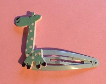 Girls wooden girafee button painted hair clips
