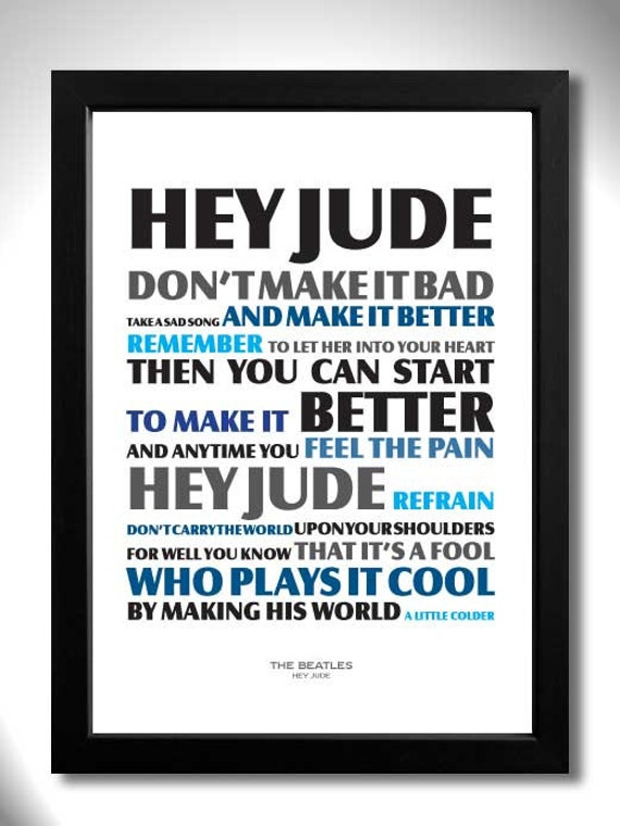The Beatles Hey Jude Unframed A4 Art Print Con Letras De Etsy