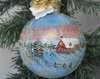 Christmas Ornament - Hand Painted Christmas Ornament - Winter Scene Ornament - Hand Painted Ornament - Christmas Gift Glass Ornament Painted