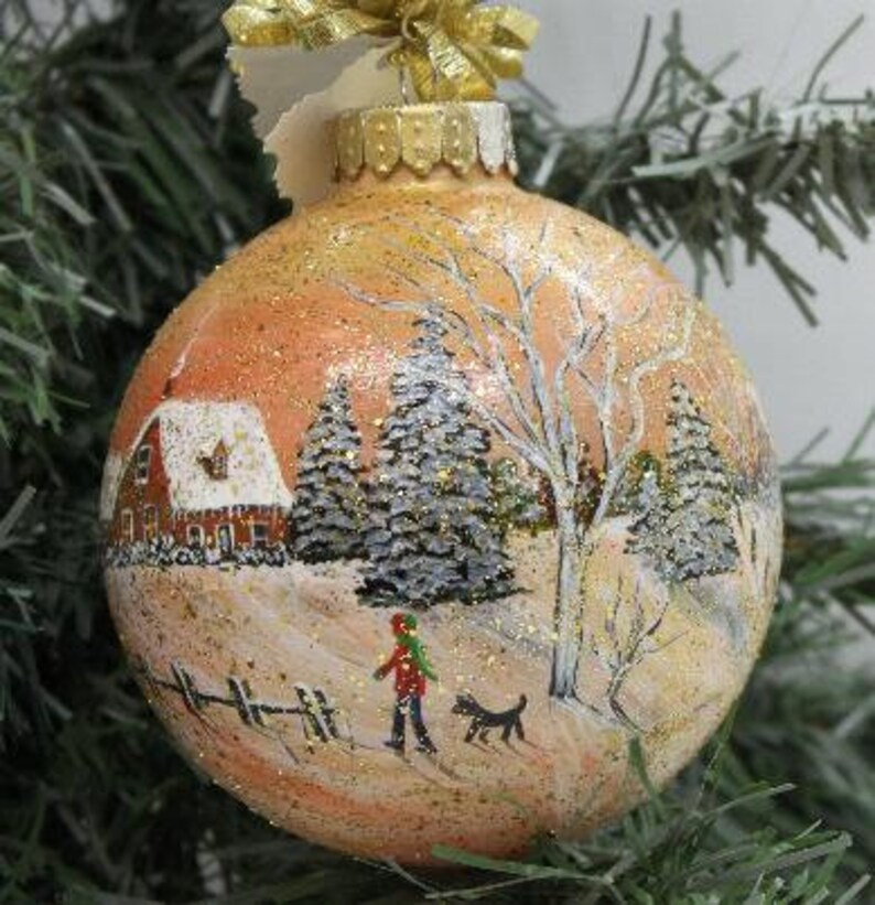 Christmas Ornament Hand Painted Christmas Ornament Winter Etsy
