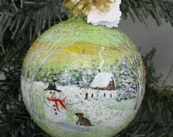 Christmas Ornament - Hand Painted Ornament - Winter Scene Ornament - Hand Painted - Christmas Gift - Christmas Decor - Painted Ornament Art