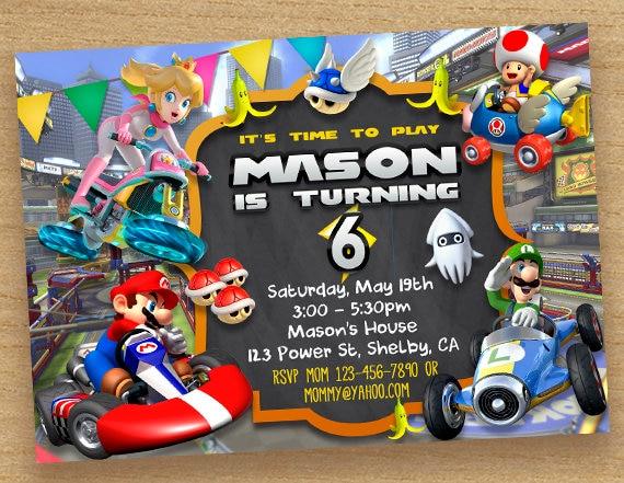 Mario Kart Invitation Mario Kart Birthday Party Custom Etsy