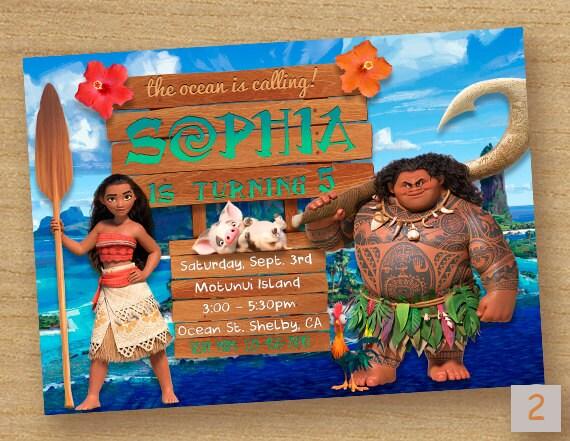 Moana Invite Birthday Party Invitation Printable