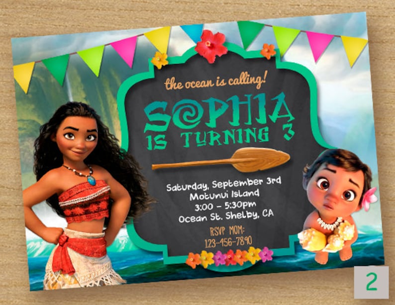 Moana Invite Birthday Invitation Disney Party Card Maui Custom Printable Invites