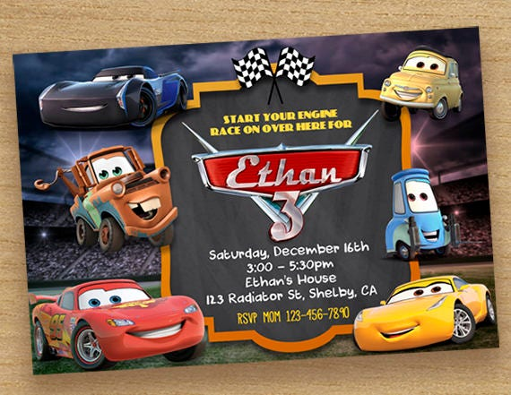 Disney Cars 3 Invitation Birthday