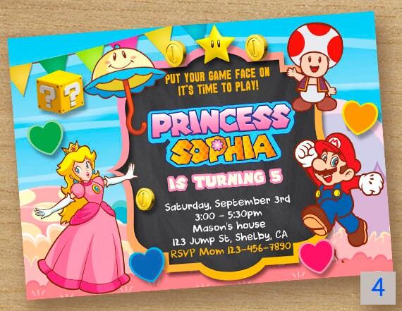 Super Mario Invitation Peach Princess