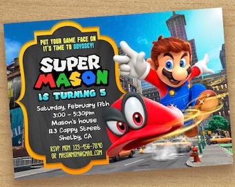 Super Mario Invitation,Mario Invite Party, Super Mario Odyssey, Mario Cappy Invitations, Mario Odyssey Birthday, Super Mario Chalkboard