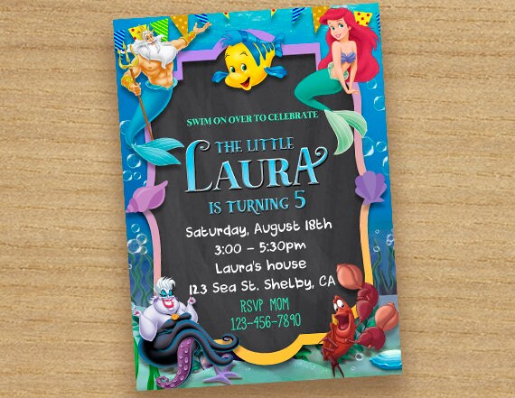 The Little Mermaid Invitation Birthday Party