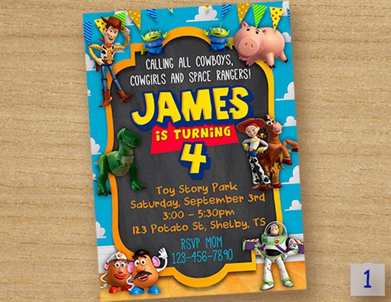 Carte Dinvitation Danniversaire Toy Story Toy Story Partie Tableau Personnalisé Invitation Toy Story Invite Invitation Imprimable Toy Story