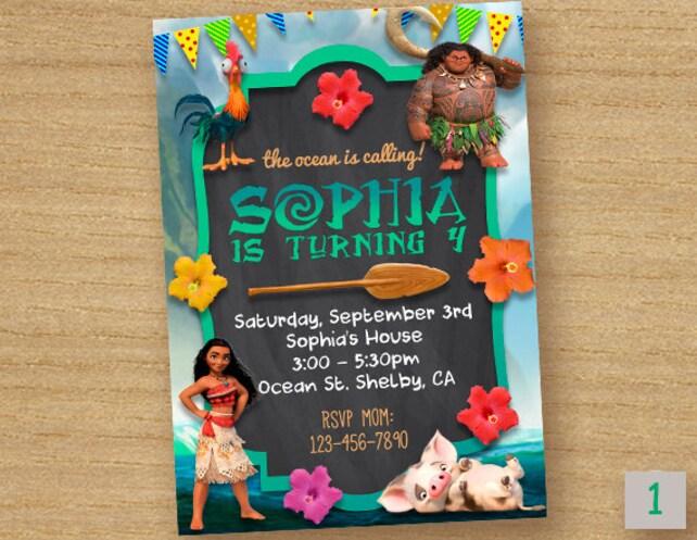 Moana Invite Birthday Invitation Disney Party Card Maui Custom Printable Invites
