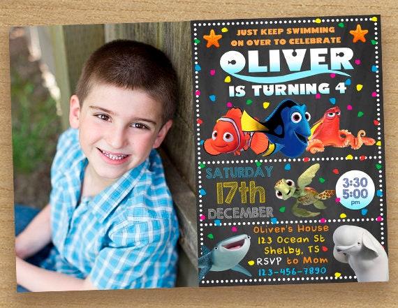Encontrar Dory Invitación Con Foto Invitación De Cumpleaños Dory Encontrar Dory Party Tarjeta Personalizada Nemo Invitación Dory Photo Invita