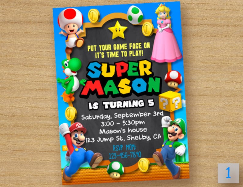 Super Mario Invitation Peach Princess
