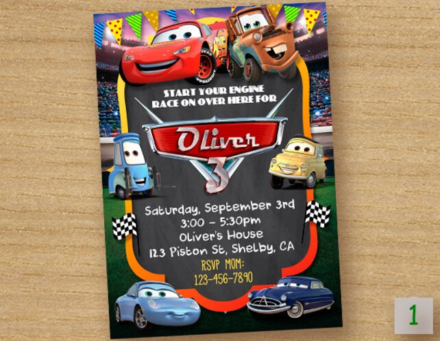Cars Birthday Invitation Disney Party Invite Lightening McQueen Digital Printable Chalkboard Custom