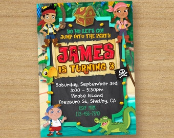 Jake and the Neverland Pirates Invitation, Birthday Invite Jake and the Neverland Pirates, Jake Pirates Custom Card, Neverland printable