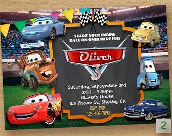 Cars Invitation Printable, Disney Cars Birthday Party Invite, Cars Digital Printable Chalkboard Invitation, Cars Birthday Invites