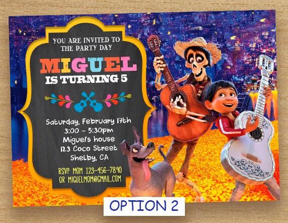 Invitación De Coco Fiesta De Cumpleaños De Coco Coco Tarjeta Personalizada Imprimible Invitación De Cumpleaños Disney Coco Coco Pixar Invitar A