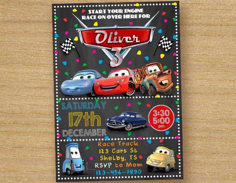 Cars Birthday Invite Disney Invitation Chalkboard
