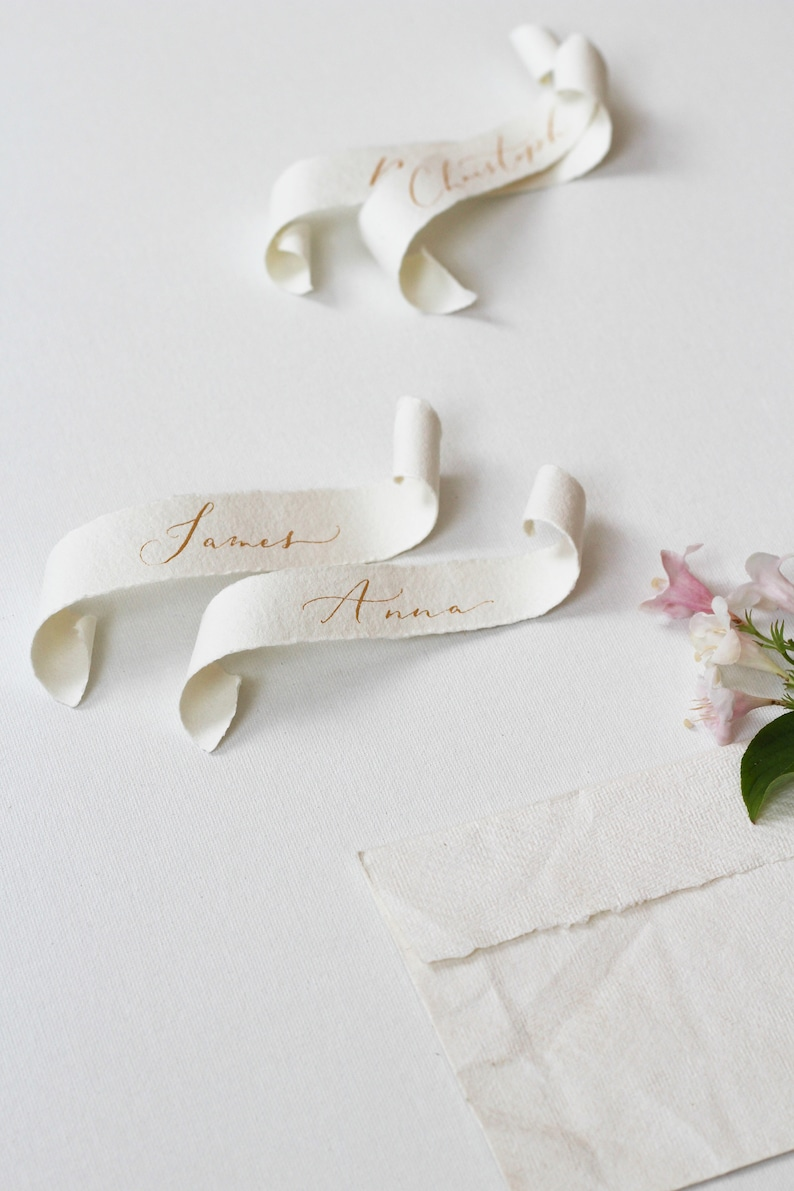 Handwritten Name Card Calligraphy Name Place Card Scrolls Gold Ink