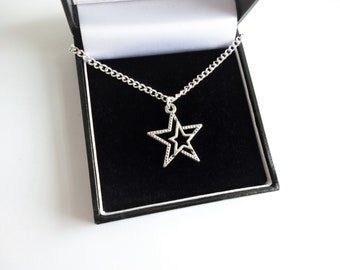 PD-1276-OR  2 Pcs Silver Plated over Brass  6.7mm x 8.5mm Tiny CZ Open Star Charm Pendant Small Round Pendant