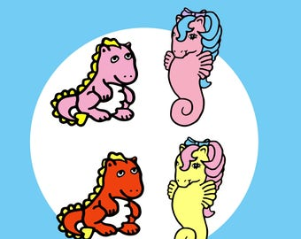 Baby Dino and Seapony Pins, Single or Sets