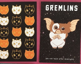 "Postcard Sets: Gremlins and Sailor Moon Pumpkin Kitty Postcards, Art Prints, 4""x6"""