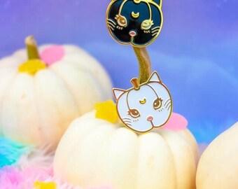 Pumpkin Kitty Sailormoon Luna + Artemis Pins - 3 Color Choices