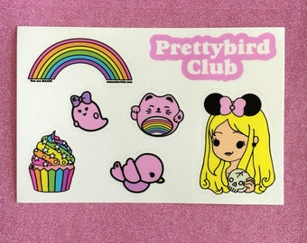 Prettybird Club Sticker Sheet, 7 Vinyl Stickers on 4x6 inch sheet