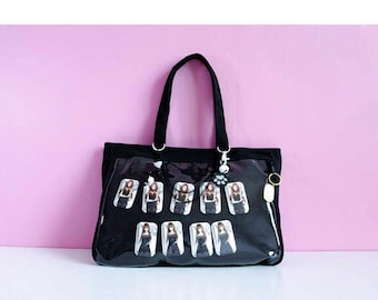 Ita Bag, Kawaii Black Canvas Purse, Perfect for customized display of pins and keychains,  protects from pin loss
