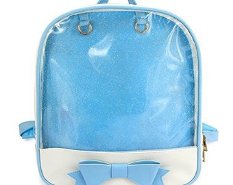Kawaii Ita Bag, Blue and White Vegan Leather Backpack with bow