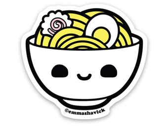 Ramen Kawaii Vinyl Sticker, Weatherproof and washable