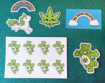 Stoney Sticker Pack, Set of 5 420 Vinyl Stickers and Vinyl Sticker Sheet or Individual Stickers, Weed Stickers