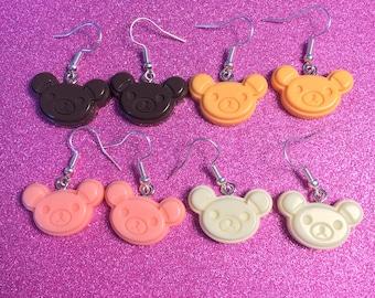 Rikuma Earrings, Rilakkuma Handmade Acrylic Dangle Earrings come in 4 color options