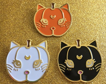 Pumpkin Kitty Sailormoon Luna + Artemis Pins - 3 Color Choices
