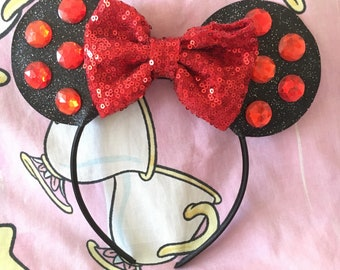 Minnie Mouse Ears with Custom Polka Dot Rhinestones