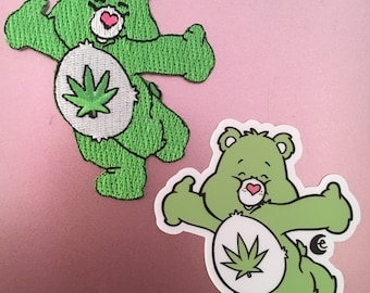 Stoney Bear Iron On Patch, Limited Edition 3 Inch Green Cannibus Carebear Flair, Optional Vinyl Sticker or Magnet Add On, Bundle and Save