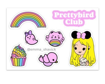 Prettybird Club Sticker Sheet, 7 Vinyl Stickers on 4x6 inch sheet
