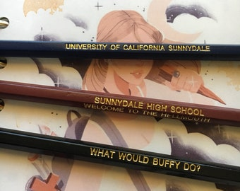 Buffy 6 or 12 Pack of No 2 Pencils, Buffy the Vampire Slayer Stationary, BTVS Office Supplies, What Would Buffy Do, Sunnydale High & College