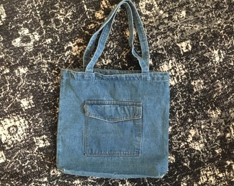 Denim Tote Bag, Ready for DIY Flair customizing, with 1 Pocket outisde, zipper closure at top, 1 large pocket inside, add flair opt
