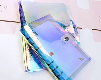 Rainbow Holographic A6 Planner Binder Transparent Notebook Diary