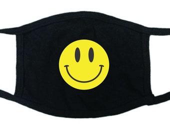 Smiley Face Face Mask,Black Cotton Face Mask,Reusable Cotton Washable  Face Mask