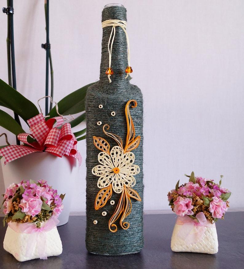 Bottle Decor Bottle Decor Decorated Bottles Handmade Etsy