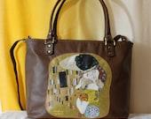 Hand painted leather bag Klimt applique, Italian leather bag, Brown yellow purse leather, Leather handbag, Hand painted purse Klimt tote bag