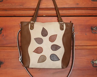 52db023cd2a6 Brown beige leather bag women