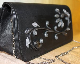 Leather woman artistic clutch evening chain handbag black grey silver art decorated exclusive stones quarz made in Italy italian shoulderbag
